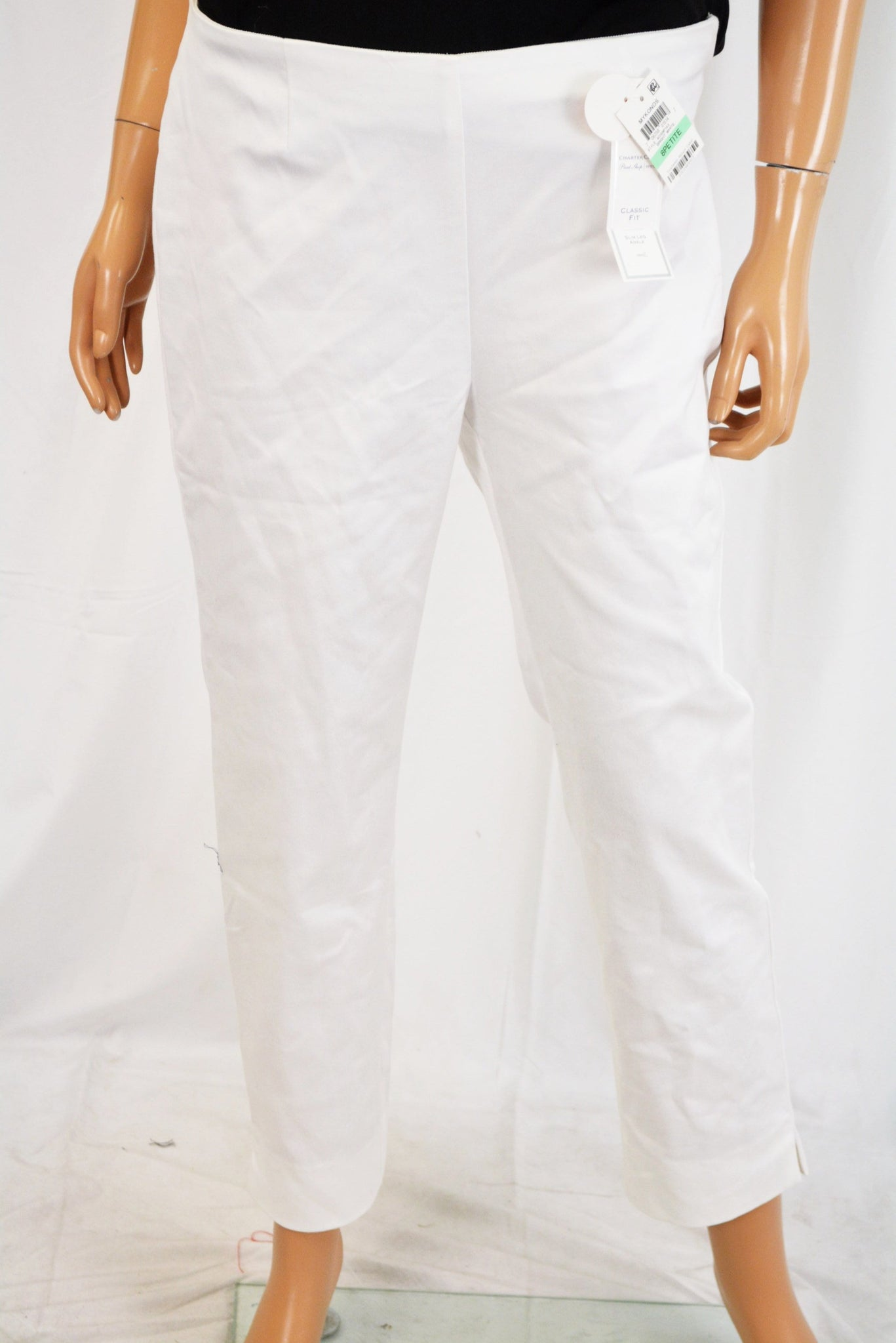 Charter Club Women's White Comfort-Waist Ankle Pants Petite 8P