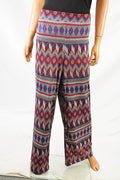 NY Collection Women Stretch Red Printed Pull On Wide Leg Soft Casual Pants XL