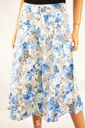 Grace Elements Linen Blend Women's Blue/Grey Floral Button Down A-Line Skirt 8