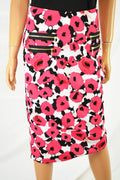 Grace Elements Women's Stretch Pink Floral Zip-Pocket Pull-On Pencil Skirt  S