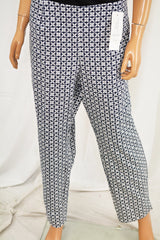 Charter Club Women's Blue Print Slim-Leg Ankle Casual Pants 16