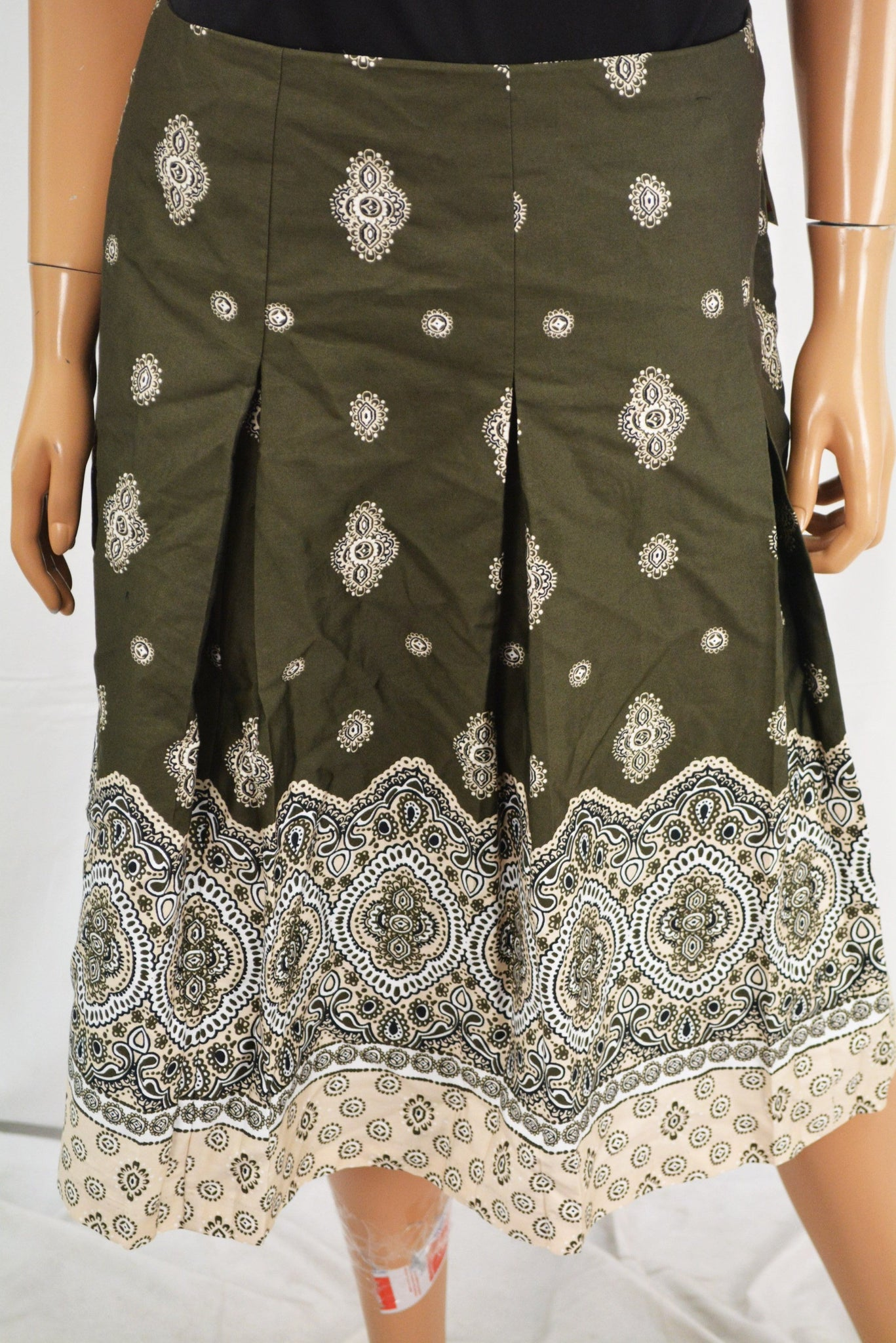 Charter Club Women's Cotton Green Pleated Printed A-Line Skirt 10