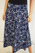 JM Collection Women's Blue Printed Jacquard A-Line Skirt Large  L