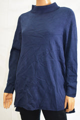 Alfani Women's Mock-Neck Long Sleeve Blue Solid Hi-Low Tunic Sweater Top XL - evorr.com
