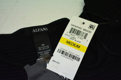 Alfani Women's Long Sleeve Black Buttoned Cuff Ribbed Swing Sweater M - evorr.com