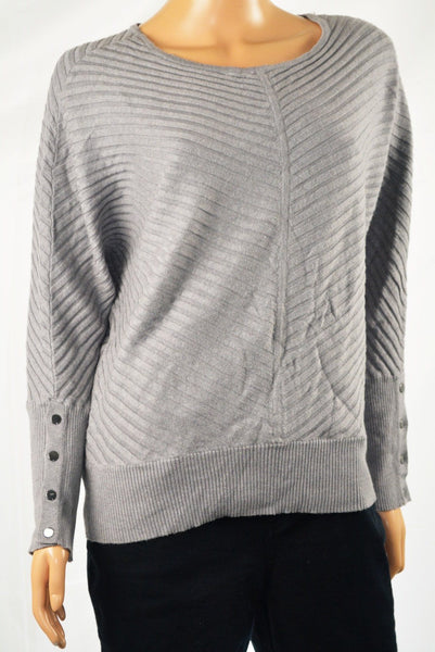 Alfani Women's Dolman Sleeve Gray Buttoned-Cuff Ribbed Sweater Top M - evorr.com