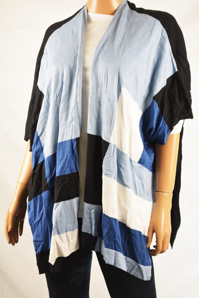 Alfani Women's Blue Striped Open Front Color Block Poncho Sweater Top L XL - evorr.com
