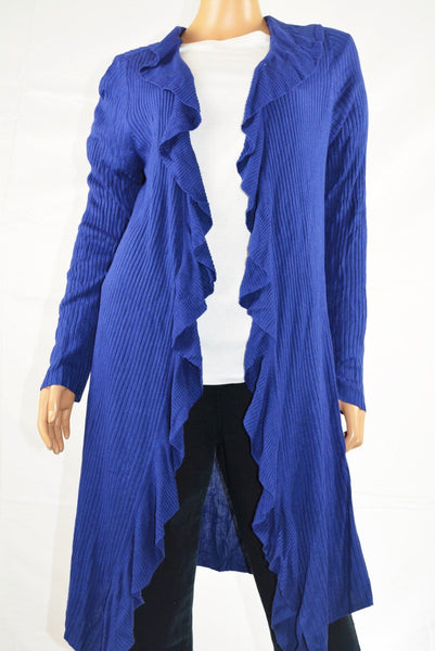INC International Concepts Long-Sleeve Blue Open Front Ruffled Cardigan Shrug XL - evorr.com