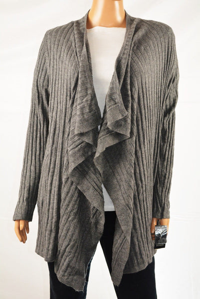 INC International Concepts Gray Draped Open-Front Ribbed Cardigan Shrug XL - evorr.com