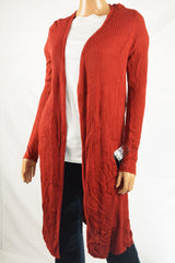 INC International Concepts Women Red Open Front Rib-Knit Duster Cardigan Shrug M - evorr.com