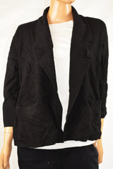 Alfani Women's Shawl Collar 3/4 Sleeve Black Open Front Sweater Cardigan M - evorr.com