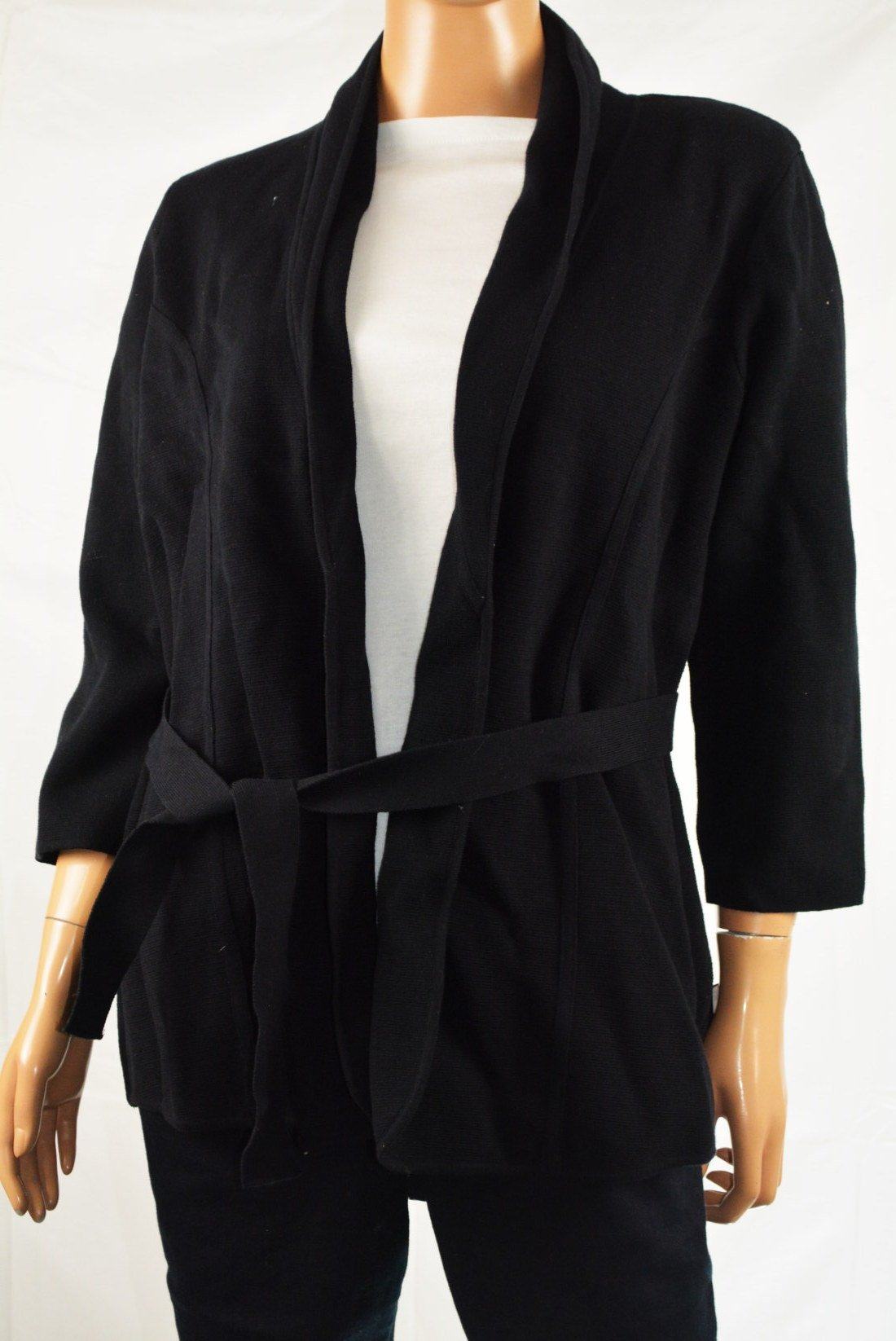 Alfani Women's 3/4 Sleeve Black Open Front Belted Sweater Jacket Cardigan XL - evorr.com