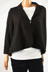 Alfani Women Shawl Collar Single-Clasp Mixed-Media Stretch Black Blazer Jacket M - evorr.com