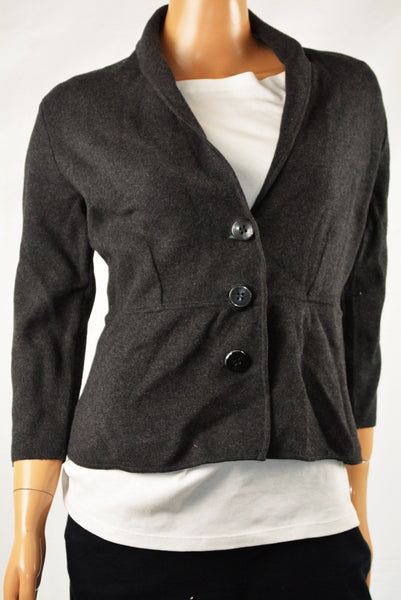 Alfani Women Shawl Collar 3/4 Sleeve Gray Three-Button Cardigan Sweater Jacket L - evorr.com