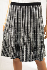 Anne Klein Women's Black Printed Striped Pull-On A-Line Knit Sweater Skirt L - evorr.com