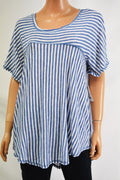 NY Collection Womens Plus High Low Blue White Striped T-Shirt Blouse Top Plus 1X