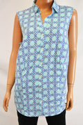Charter Club Women Printed Sleeveless Clear Coast Combo Button Down Top Plus 16W