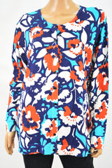 August Silk Women's Blue Printed Button Down Cardigan Sweater Plus 1X