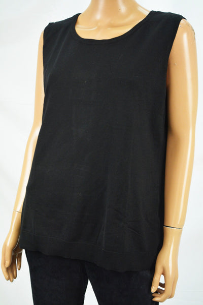 August Silk Women's Sleeveless Black Knit Sweater Top Plus 1X