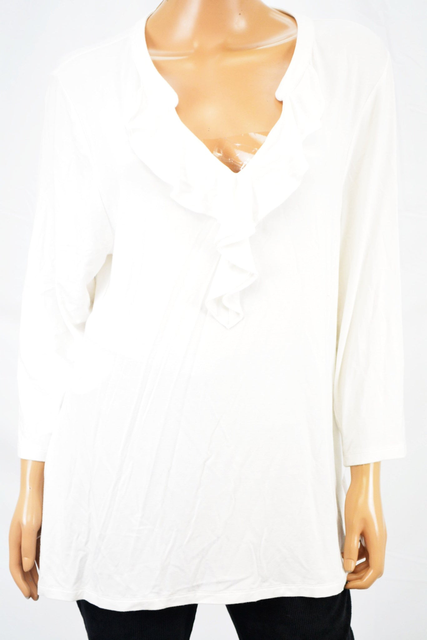 Charter Club Women's 3/4 Sleeve Stretch White Ruffled Blouse Top XXL