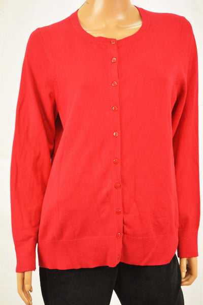 Charter Club Women's Red Button Down Cardigan Sweater Plus 1X