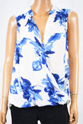 INC Concepts Women's Sleeveless White Printed Faux Wrap Blouse Top 12