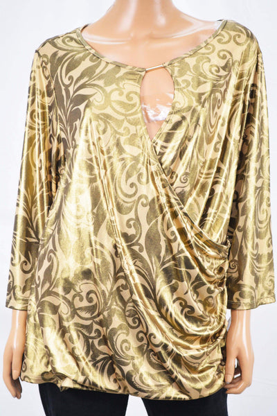 INC Concepts Women Keyhole Gold Printed Faux Wrap Blouse Top Plus 2X