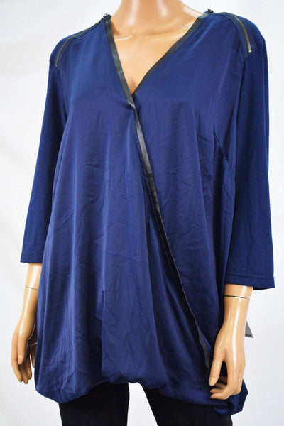 Seven7 Women's Stretch Blue Satin Trim Faux Wrap Blouse Top Plus 2X