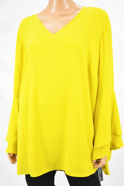Alfani Women Yellow Double-Flounced Bell Sleeve Blouse Top Plus 24W