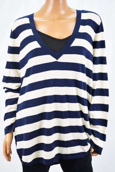 Lauren Ralph Lauren Women's Blue Striped Sweater Top Plus 3X
