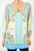 JM Collection Women Keyhole Blue Printed Embellished Blouse Top Plus 0X