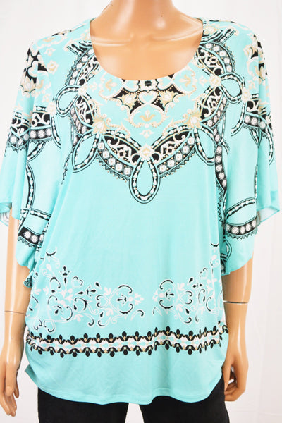 JM Collection Women Flutter Slv Blue Print Embellish Blouse Top Plus 2X
