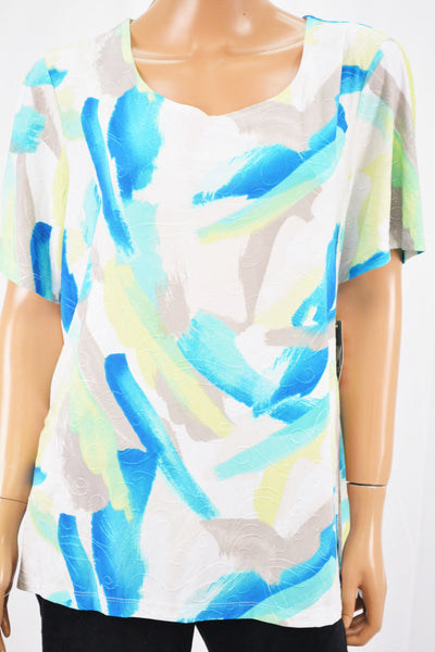JM Collection Women Blue Brushstroke Print Jacquard Blouse Top Plus 1X