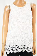 Alfani Women's Crew Neck Sleeveless White Lace Blouse Top Petite 12