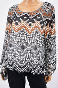 Alfani Women's Black Geometric Print Sheer Blouse Top X-Large XL