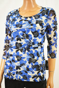 Alfani Women's Blue Floral Print Tiered Mesh Blouse Top  Petite M