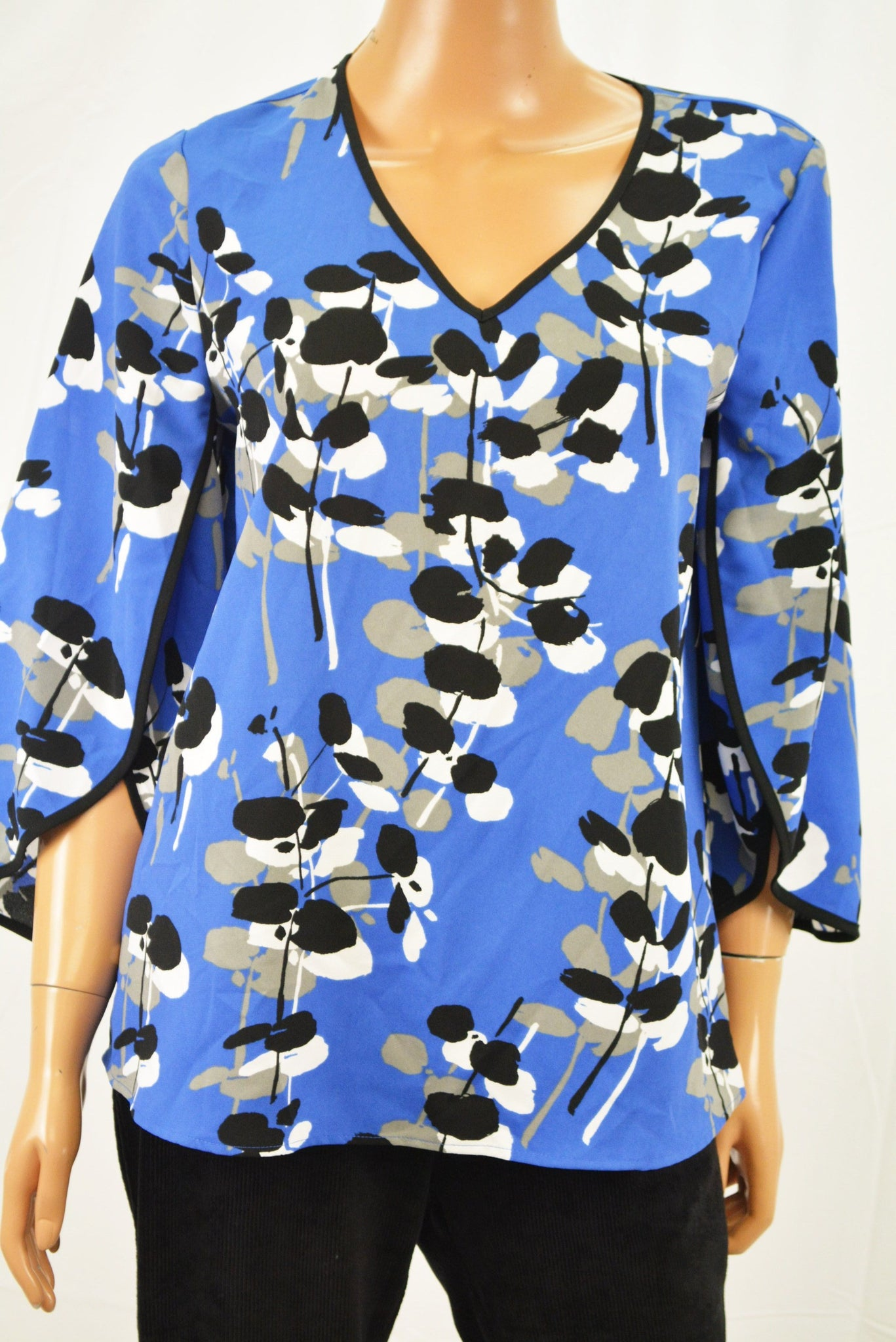 Alfani Women's Envelop Sleeve Blue Printed Blouse Top Petite 8
