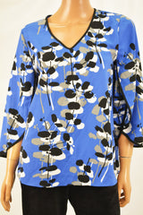 Alfani Women's Envelop Sleeve Blue Printed Blouse Top Petite 10