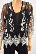 Alfani Women Black Embroidered Open-Front Sheer Cardigan Petite M