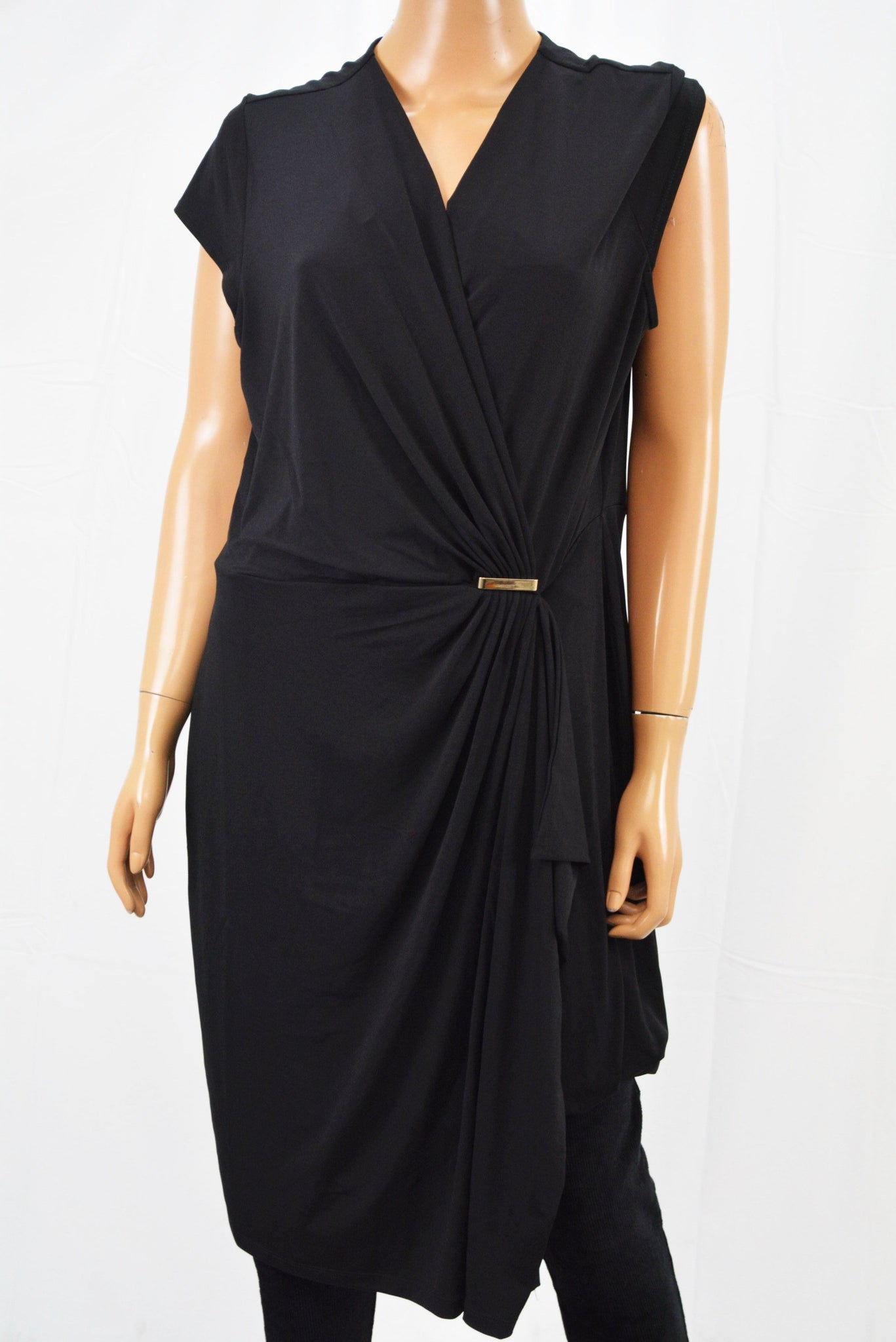 Charter Club Women's Cap Sleeve Black Ruched Faux-Wrap Sheath Dress XL