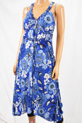 INC Concepts Blue Floral Print Handkerchief Hem Midi Dress Petite L  PL