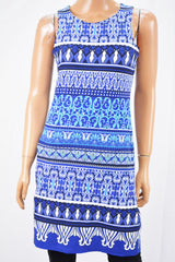 Charter Club Women's Sleeveless Blue Printed Sheath Dress Petite S PS