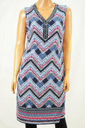 JM Collection Women Blue Beaded Chevron-Print Sheath Dress Small S