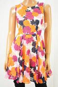 Maison Jules Women's Pink Floral Printed Pleated A-Line Dress XXS