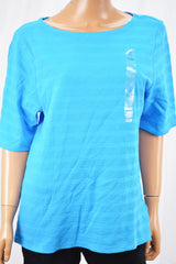Charter Club Women Boat Nk Cotton Blue Textured Blouse Top X-Large XL
