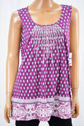 Charter Club Women's Purple  Printed Embroidered Blouse Top X-Large XL