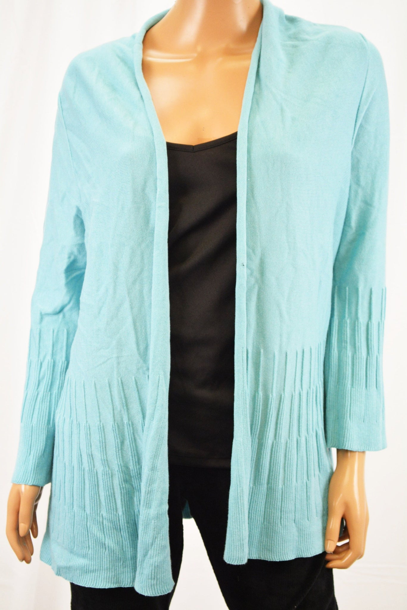 Charter Club Women's Blue Open-Front Ribbed Cardigan Medium M