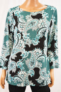 Charter Club Women's Green Paisley-Print Ruffled Blouse Top Large L