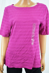 Charter Club Women's Boat Neck Purple Textured Blouse Top XL