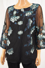 Charter Club Women Metallic Black Floral Embroidered Mesh Blouse Top XL